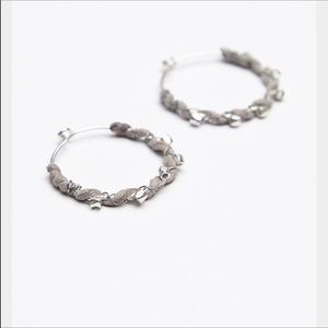 Free People Suede Wrapped Silver Hoops